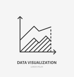 Financial analysis flat logo area chart graph vector