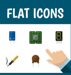 Flat icon electronics set of transistor triode vector
