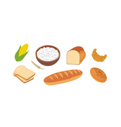 Flour products set long loaf vector