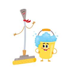 Funny sponge mop and soap foam bucket characters vector