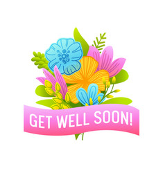 get well soon banner with doodle flowers pink vector image