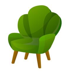 Green armchair icon cartoon style vector