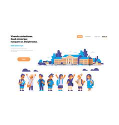 group pupils children over school building vector image
