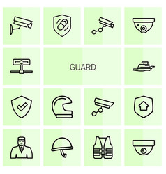 guard icons vector image