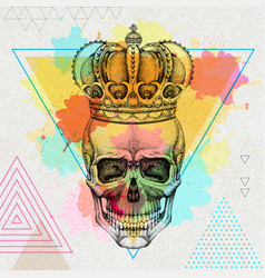 hand drawing hipster skull with crown vector image