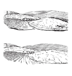 Hand drawn landscape of village and field vector image
