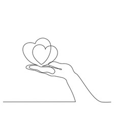 hand holding heart sign continuous one line art vector image