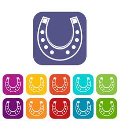 horseshoe icons set flat vector image