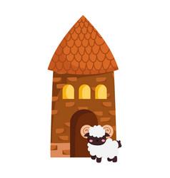 House and ram bovine rural farm animal cartoon vector