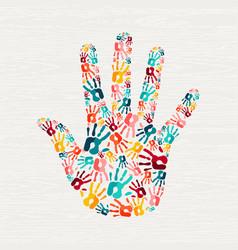 human hand print concept for social help vector image