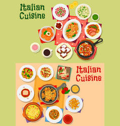 Italian cuisine traditional dishes and salads vector