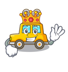 King clockwork toy car isolated on mascot vector