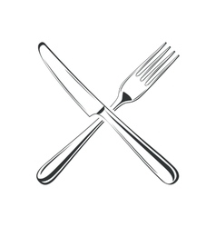 Knife and fork isolated on white background vector image