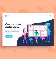landing page template data view concept vector image