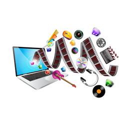 laptop multimedia vector image