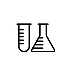 line test tube icon on white background vector image