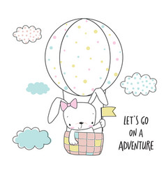 Little bunny in a hot air balloon vector