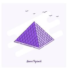 louvre pyramid landmark purple dotted line skyline vector image
