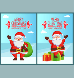 merry christmas santa claus in chimney with bag vector image