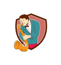 Musician Playing Saxophone Shield Cartoon vector