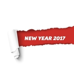 New year red torn edge template and paper vector