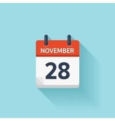 November 28 flat daily calendar icon vector image