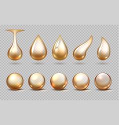 oil drops realistic golden fluid drips yellow vector image