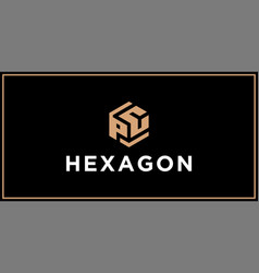 pc hexagon logo design inspiration vector image