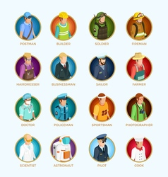 People Avatar Isometric Set vector