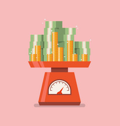pile money on domestic weigh scales vector image