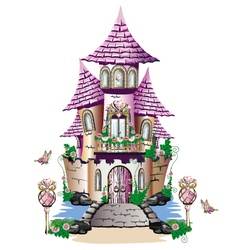 Pink fairy tale castle vector