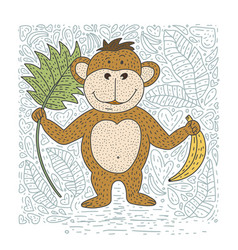 playful card with monkey vector image
