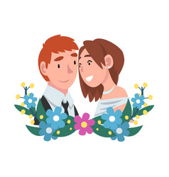 portrait bride and groom standing behind a vector image