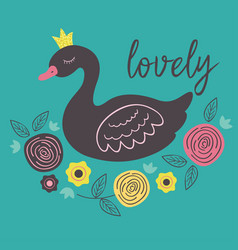 poster with lovely princess black swan vector image