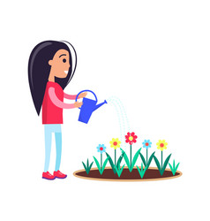 pretty little girl watering flowers blooming buds vector image