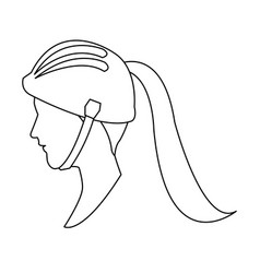Profile head woman with sport helmet outline vector