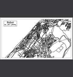 Rabat morocco map in black and white color vector