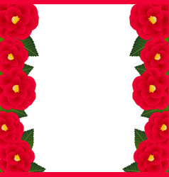 Red camellia flower frame border vector