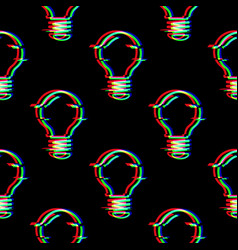 seamless pattern with light bulb line vector image