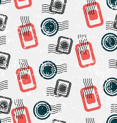 Seamless Pattern with Visa Stamps Background for vector image
