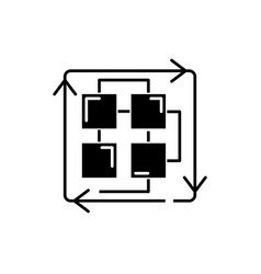 sequence of processes black icon sign on vector image