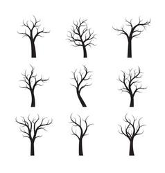Set black winter naked trees vector