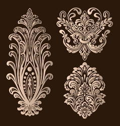 Set damask ornamental elements elegant vector