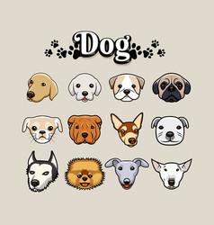 set dog head vector image