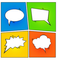 set of comic speech bubble cartoon vector image