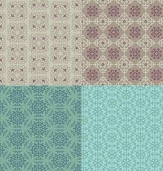 Set of four seamless patterns kazakh asian floral vector