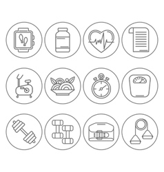 set of line icons for personal trainer vector image