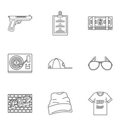 Street rap icon set outline style vector