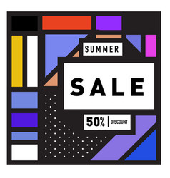 Summer sale 50 discount banner with colorful vector