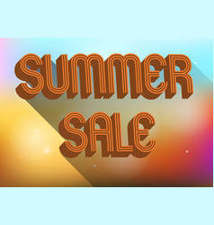 summer sale with 3d text abstract colorful vector image
